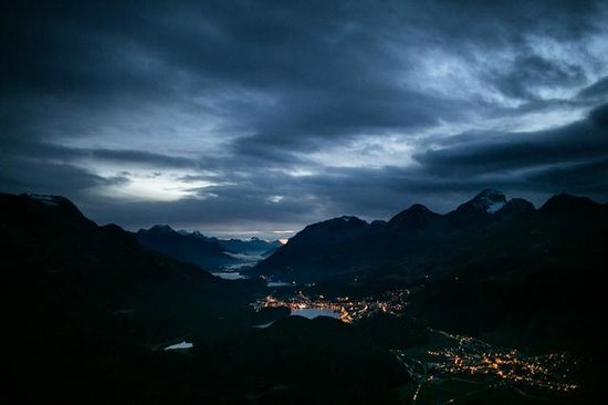 Samedan, Svizzera: Just after sunset - view from terrace