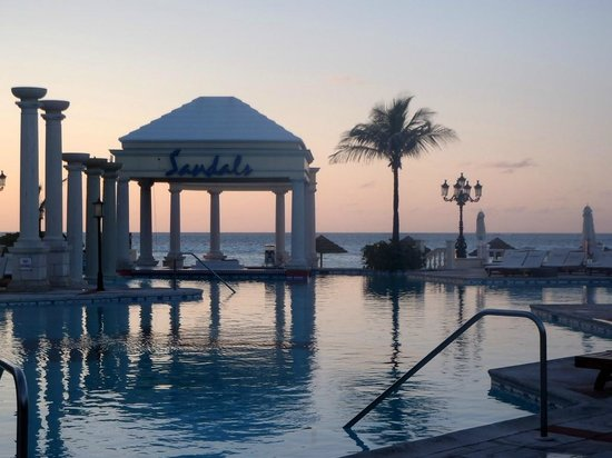 Sandals Royal Bahamian Spa Resort & Offshore Island: and evening shot of the pool/ocean