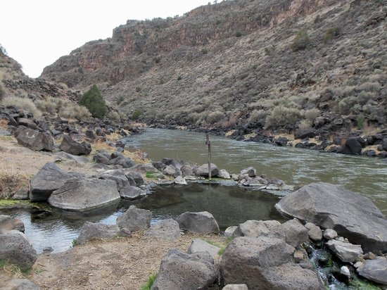 Arroyo Hondo,  : Manby Hot Springs are right on the edge of the Rio Grande River.