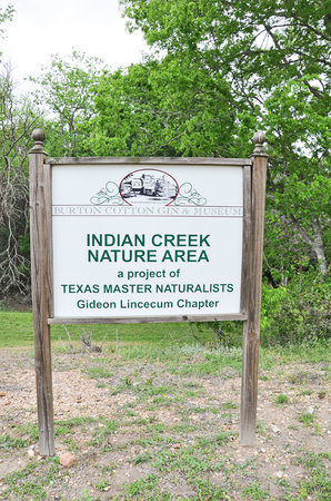 Burton, TX: Indian Creek Nature Area directly behind the Cotton Gin.