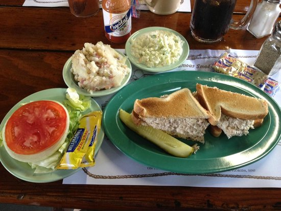 Smoked fish spread on toast and cole slaw german tater for Smoked fish spread