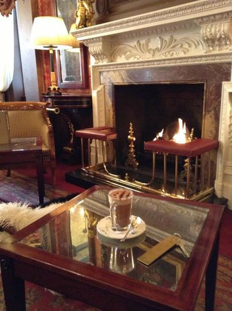 The Goring: Relaxing by the fireplace!