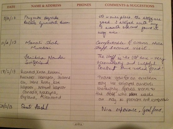 Tej Abode: recent reviews in our guest book