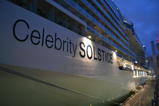 Hilton Auckland: Celebrity Solstice tied up on pier...this is how close ship is to pier.  Good views.