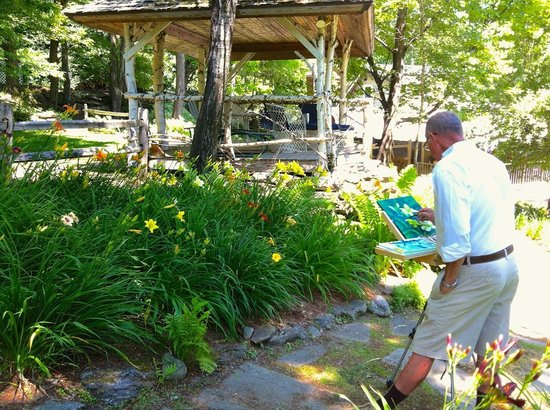 Waren, VT: Gary Eckhart painting at West Hill House Gazebo