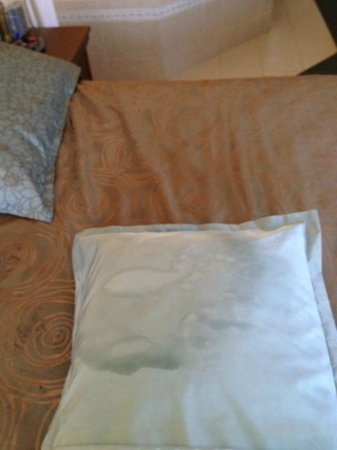 Golden Gables Inn: Oil residue? on decretive pillow