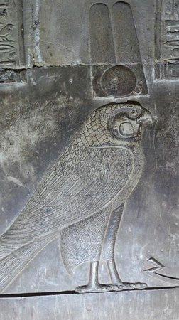 Qena, Egypte: Horus carving in the crypt