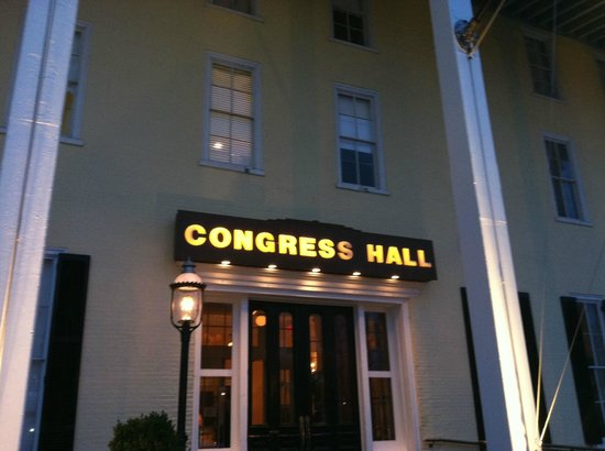 Congress Hall: The main entrance at night.
