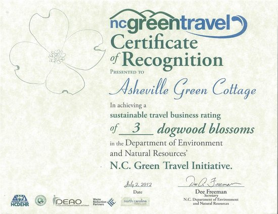 Asheville Green Cottage : Our NC Green Certification