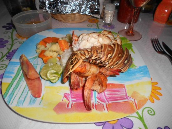 Casita de Maya: Daniel&#39;s special grilled lobster and shrimp dinner.