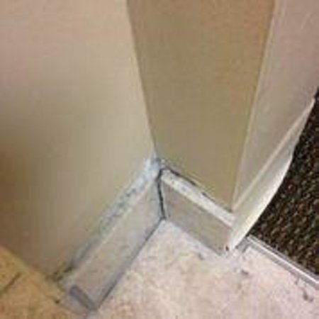 CrestHill Suites Albany: Tile breaking off wall