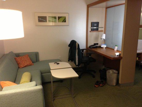 Springhill Suites Cincinnati Airport South: Sitting area. The frosted glass can be pulled back.