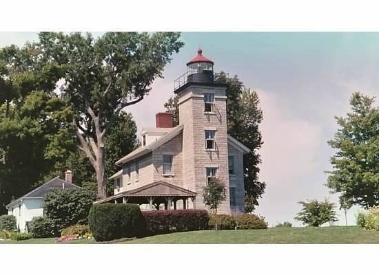 Sodus Point, : View of Lighthouse from Bay side