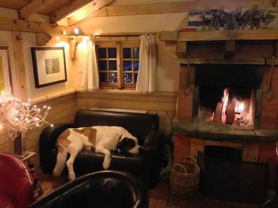 Champery, Schweiz: The dog of the house, in its favourite couch, by the fireplace!