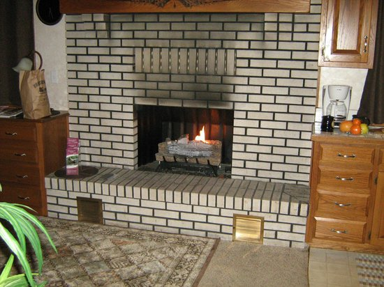 Donna's Premier Lodging: Fireplace