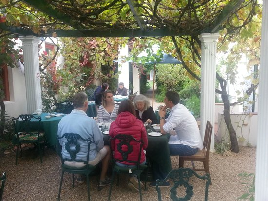 La Fontaine Guest House: Breakfast under the vines.