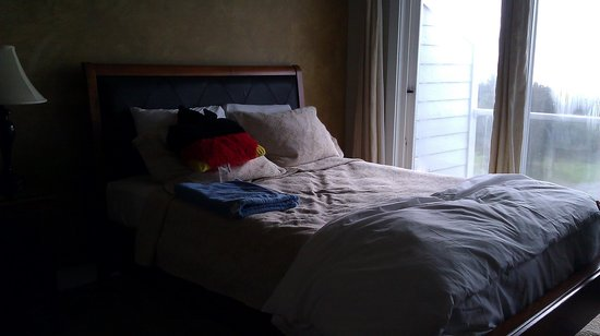 Pacific Reef Resort - Gold Beach: bed in room 225 very hard and old. you can see how it dips in the middle.