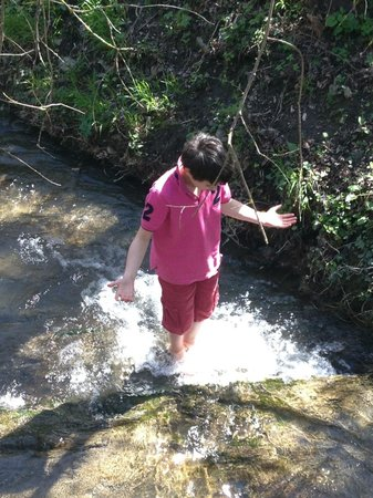 Axat, France: In the stream at Aux Quatre Saisons!
