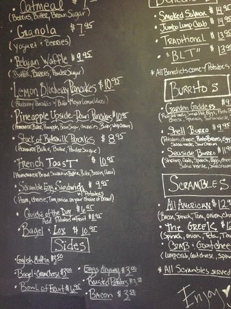 Shell Beach, CA: Chalkboard menu at Seaside Cafe and Bakery.