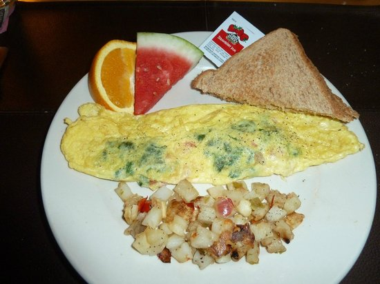 Cinnamon Bear Inn: Spinach, tomato, and Romano cheese omelette.