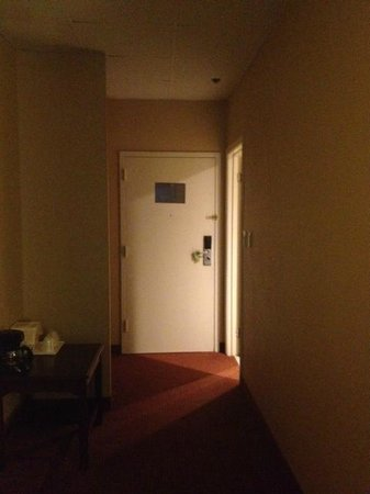 Comfort Inn & Suites Downtown: Entrance to room - all available lights are on and the window shades are open, mid-afternoon