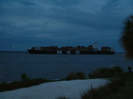 The Cottages on Charleston Harbor: Container Ship