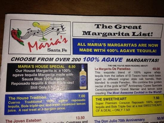 The 8 page margarita menu picture of maria 39 s new for Maria s italian kitchen menu