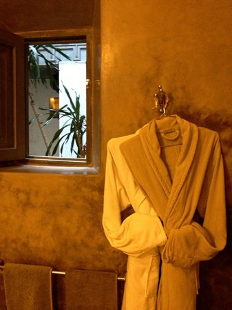 Riad Dar One: bathrobes provided, windows opening up into the open middle of the riad