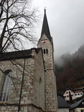 Heritage Hotel Hallstatt: The landmark Church that closed to the Heritage Hotel.