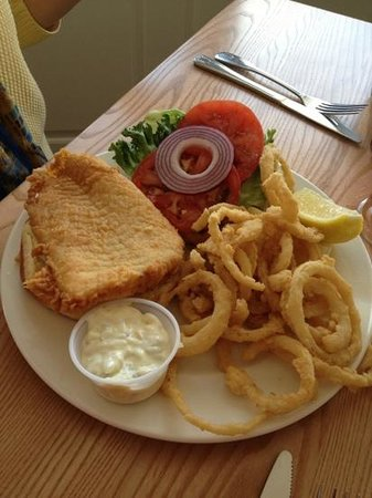 Guilford, CT: fish sandwich with onion ring