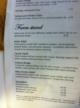 Hunt Valley Inn: Menu for room service
