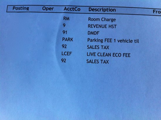 BEST WESTERN Fallsview: Bill with Live Clean Eco Fee and DMF
