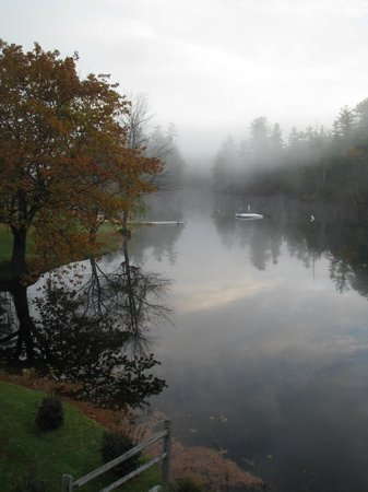 Madison, NH: Early morning mist on Purity lake