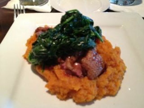 Glen Ellyn, IL: Duck breast over sweet potato puree & spinach