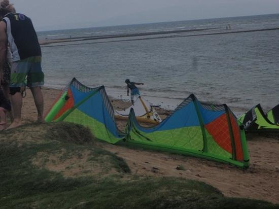 Maui Sunset Condos: getting their kite-boards ready to sail.