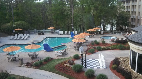 Evergreen Marriott Conference Resort: View of the pool and play area.