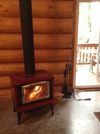 Green Acres Lakeside Resort Salt Spring Island: Warm and cheery wood stove