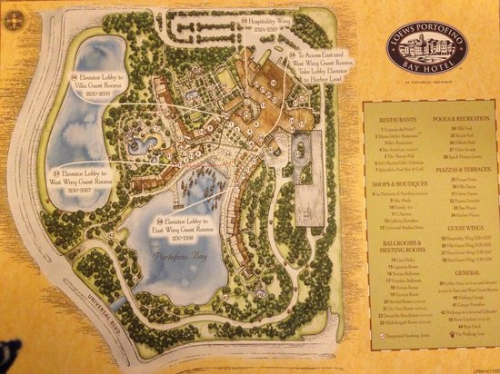 Loews Portofino Bay Hotel at Universal Orlando: Map of the Portofino Property