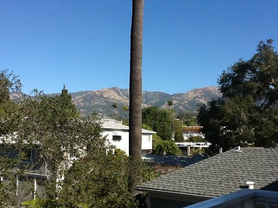Cheshire Cat Inn: View from the Alice Room towards the mountains - big palm tree in the middle