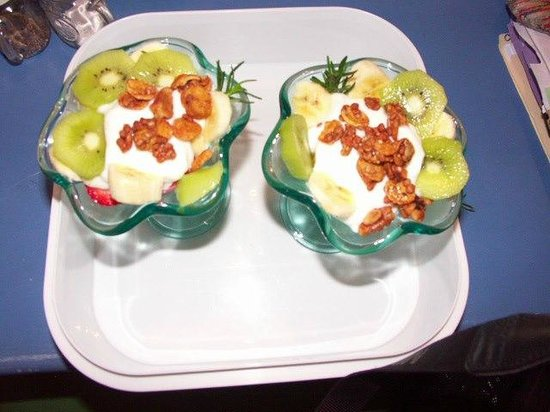 Nostalgic 1950's Panama City Beach Bed and Breakfast: Banana Coconut Yogurt Parfaits in Chilled Antique Parfaits...With Granola and Cream on Top With