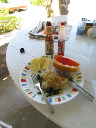 Citronella: My famous callaloo and goat cheese omelette.