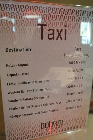Bohem Art Hotel: If you can read it, these are taxi rates from hotel.
