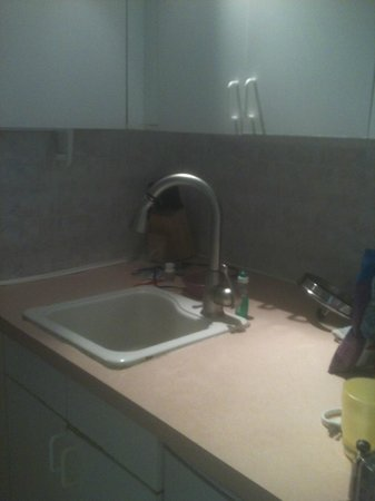 Kona Islander Inn: Other side of kitchenette. Shared sink for the bathroom and kitchenette. Wasn't an issue for us