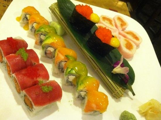 Willow Street, PA: Left to right: Cherry Blossom, Sunset Roll, Smelt Fish Roe with Quail Egg, and Pink Ocean Roll