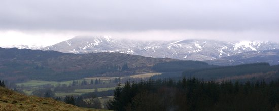 rolling hills and snowy mountains of Kirkmichael