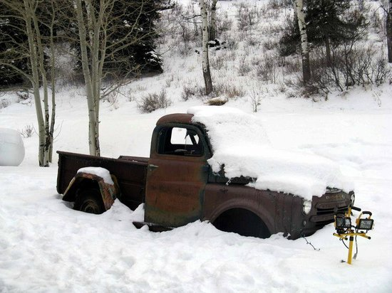 Edwards, CO: Truck bones in snow.