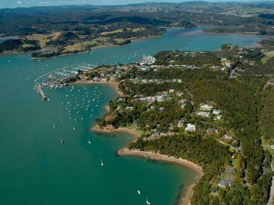 a prime location! Cliff Edge is on the lower promontory, with Port Opua on the top