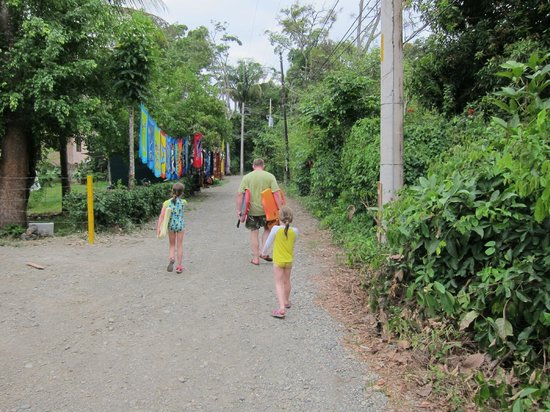 La Posada Private Jungle Bungalows: Walk to the beach with borrowed boogie boards