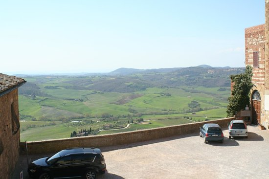 La Locanda di San Francesco: view from our room in the inn overlooking parking lot