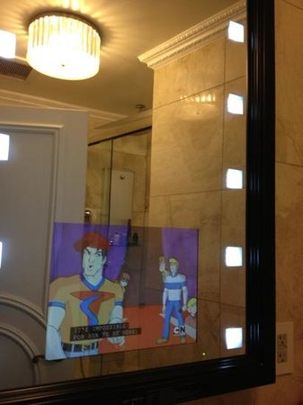 Flatiron Hotel: The TV in the bathroom mirror is a fun novelty